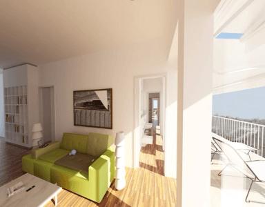 Helle FAMILIENWOHNUNG mit hohen Räumen, ca. 54 m² großem Wohn-/Ess-/Kochbereich + Terrasse